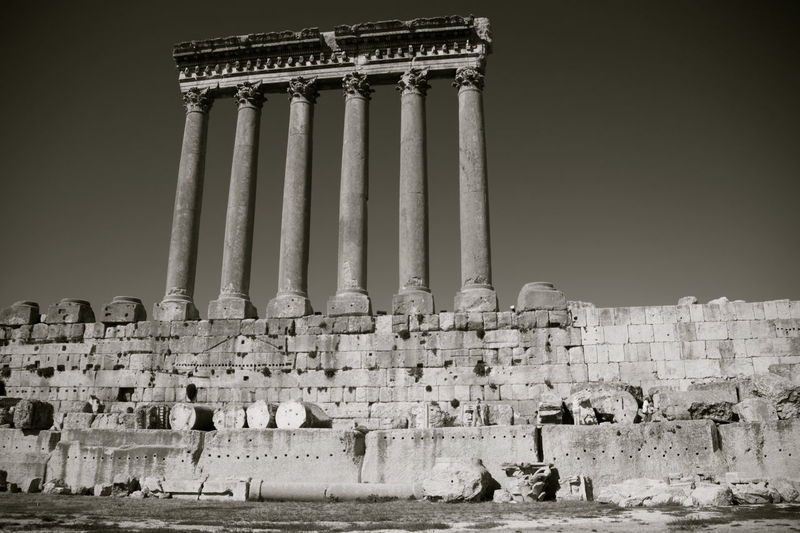Anastilosi Ancient Architectural Column Architecture Baalbek Famous Place History Lebanon Monochrome Monument Stone Material