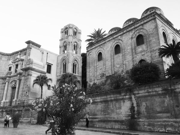 Palermo Palermo Shooting Martorana Religion Architecture Place Of Worship Spirituality Building Exterior Built Structure Low Angle View Day Travel Destinations Outdoors No People Tree Sculpture Clear Sky Sky Black And White Friday