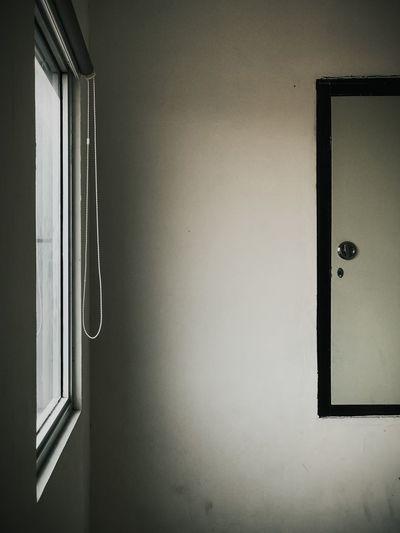 Close-up of closed door of window