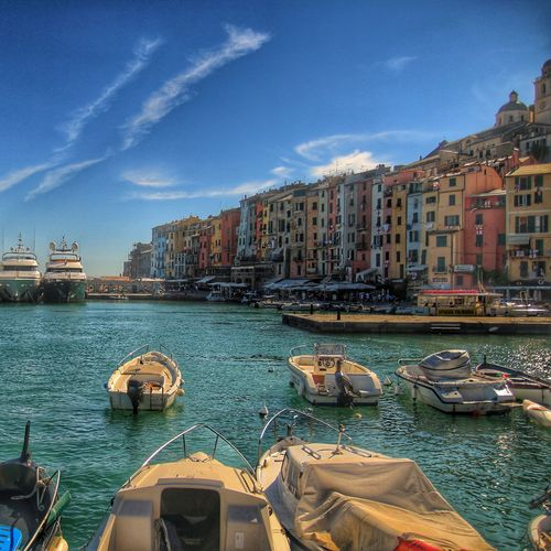 Mediterranean  Harbour Scenery Old Buildings Old Town Italia Liguria Coastline Boats Coastal Vacation Time Sky And Water Water_collection Waterfront