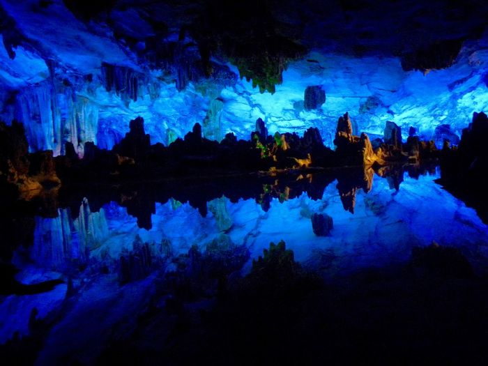 Beauty In Nature Blue Grotte Di Yungang China Illuminated Lake Nature Night No People Outdoors Reflection Scenics Standing Water Swimming Tranquil Scene Water Waterfront EyeEmNewHere Neon Life HUAWEI Photo Award: After Dark
