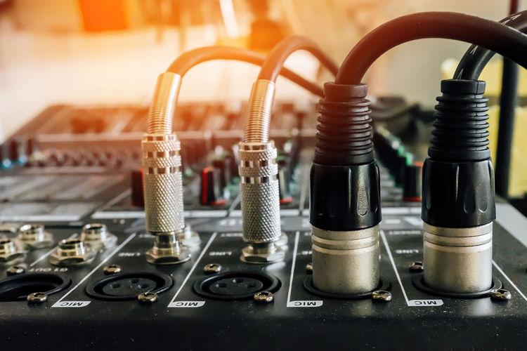 Close-up of audio equipment