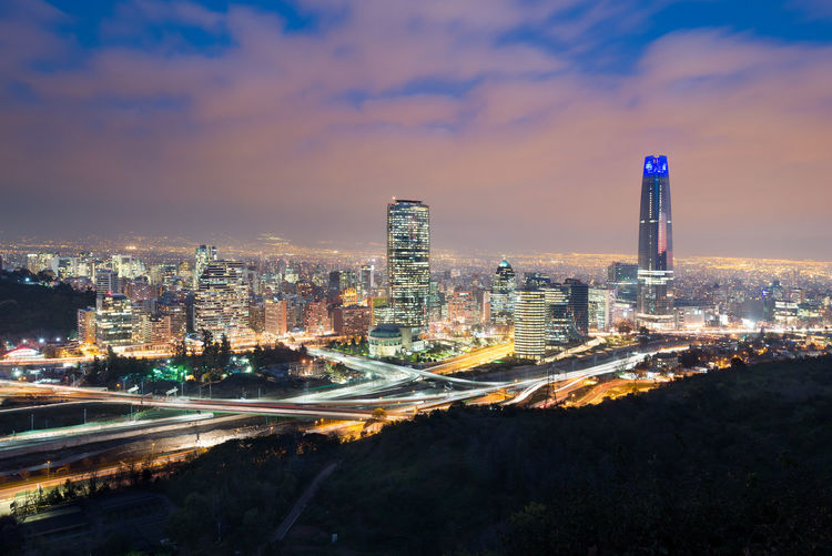 Skyline of santiago de chile with modern office buildings at financial district.