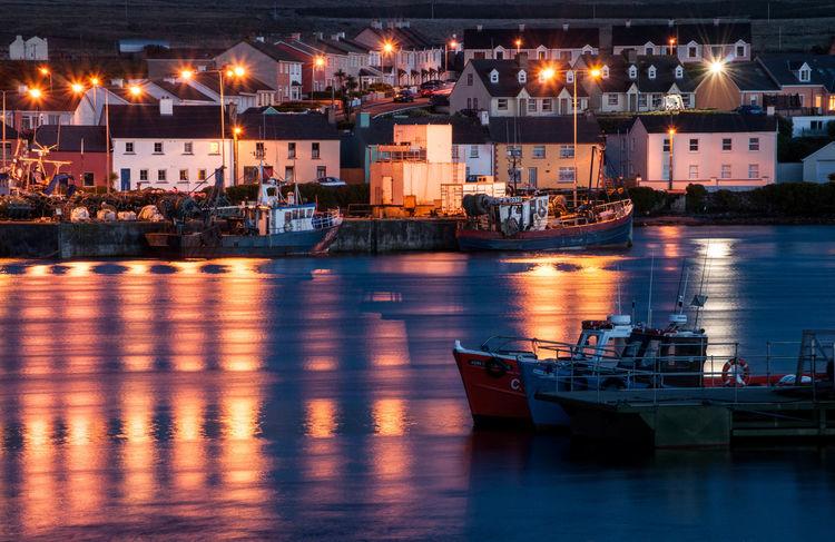 Boat Boats Harbor Houses Human Settlement Ireland Irish Light And Shadow Nautical Vessel Night Lights Night Photography Outdoors Portmagee Sea Water