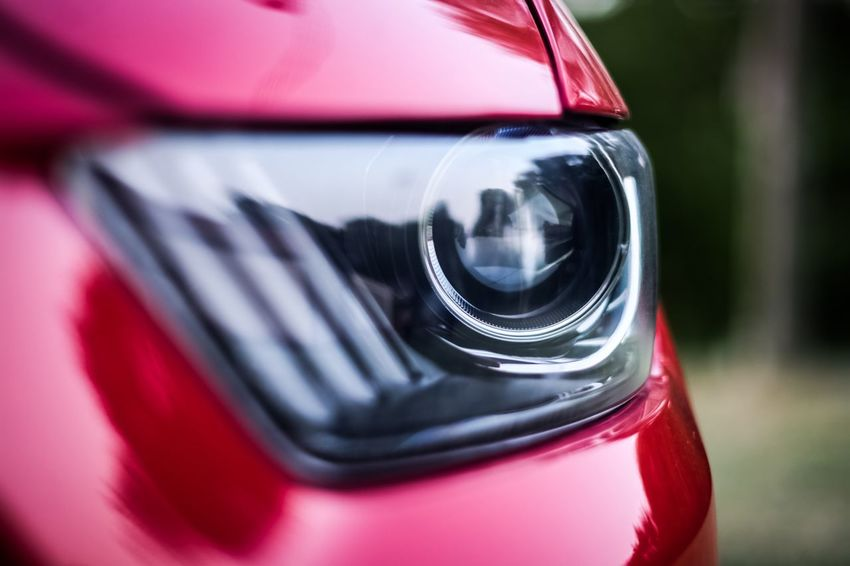 Mustang Headlight Taking Photos Bored Red 2016