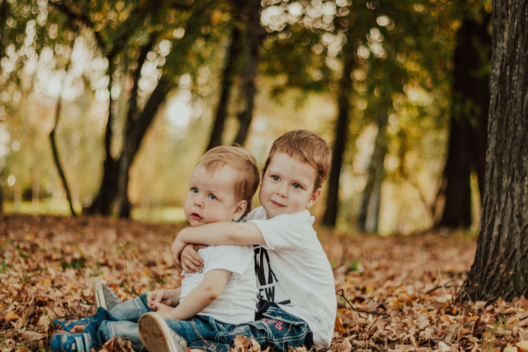 Portrait of father and son on tree