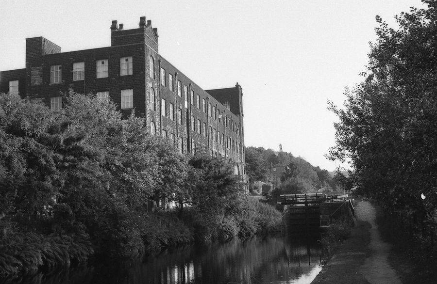 Fothergill's Rocknook Weaving Mill on the Rochdale Canal Bygone Times Film Ilford HP5 Plus Industrial Building  Industrial Photography Industrial Revolution Industry Lancashire Lancashire UK Manchester Rochdale Blackandwhite Canal Cotton Mill Factory Film Photography Filmisnotdead Ilford Industrial Landscapes Rochdale Canal Rocknook