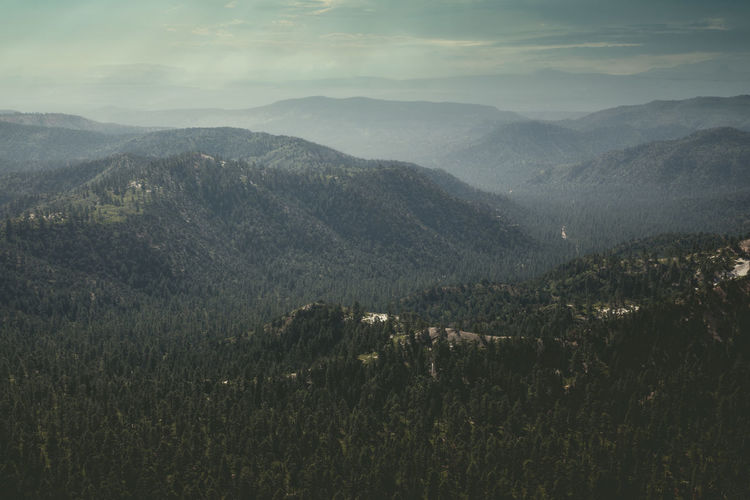 Hazy mood over the mountains in utah, bryce canyon