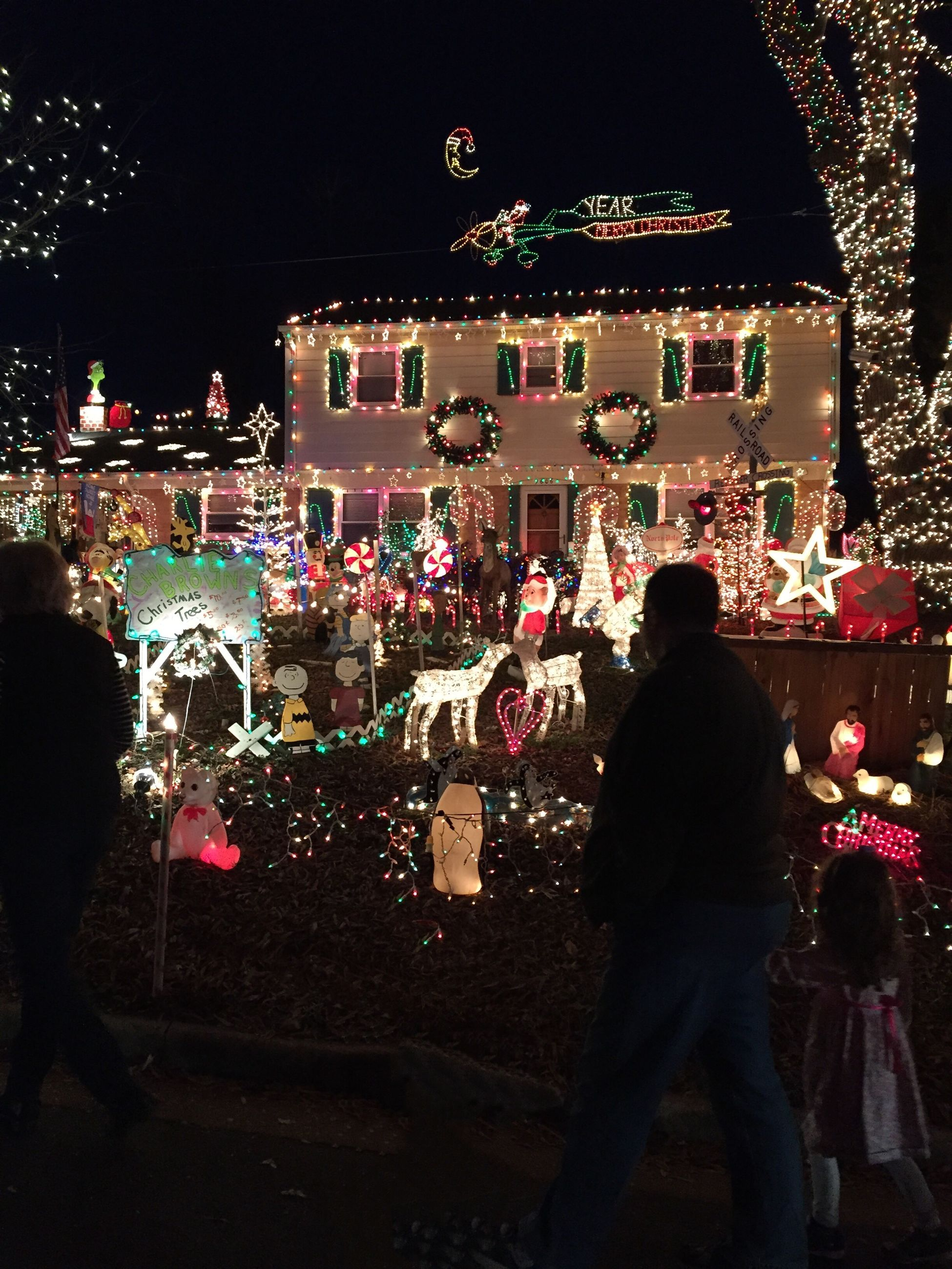 illuminated, night, real people, large group of people, leisure activity, outdoors, building exterior, celebration, men, sky, christmas lights, christmas, women, architecture, christmas market, people, crowd, adults only, adult