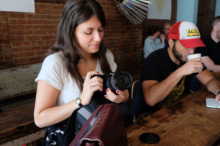 Drinking A Coffee In The Cafe Man New York New York City Person Photographing Woman Young Women