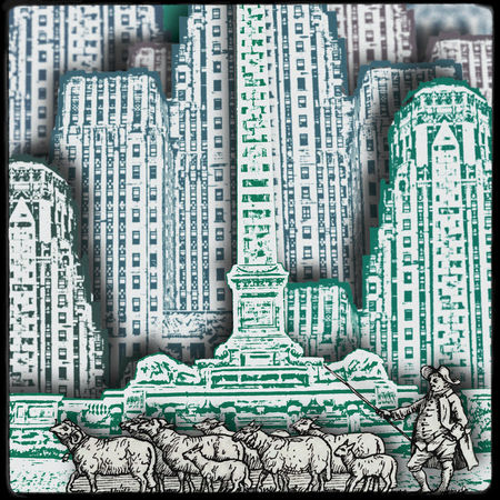 Anachronism Building City Collage Collageartwork Dada Flock Of Sheeps Flock Of Sheep Gravures Middle Ages Paper Papers Sheperd Street Sureal