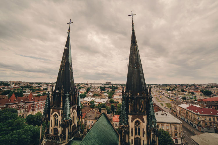 View from a height on the attractions of lviv.