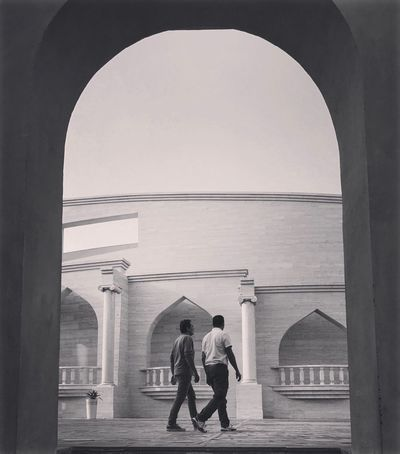 Katara Architecture Built Structure Arch Two People Real People Men Architectural Column Walking Indoors  Day Full Length Building Exterior City People