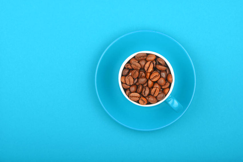 Decaf coffee beans in blue cup over blue background Blue Blue Background Close-up Coffee Coffee - Drink Coffee Bean Coffee Beans Coffee Break Coffee Cup Coffee Time Coffee ☕ Colored Background Cup Decaf Decaf Coffee Decaffeinated Drink Food Food And Drink Freshness High Angle View No People Roasted Roasted Coffee Bean Studio Shot