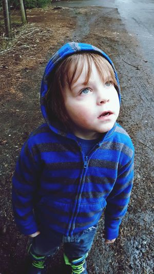 little boy with blue eyes Blue Warm Clothing Child Childhood Cold Temperature Boys Winter Portrait Males  Rainy Season Preschooler Weather
