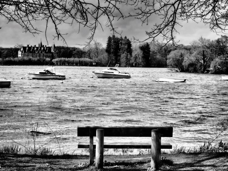 Blackandwhite Black And White Black & White Blackandwhite Photography Water Waterfront Castle House Bench Tree Outdoors Nature Tranquility No People Lake EyeEm Gallery France Sitting Stormy Weather Boat Boats And Water Hello World EyeEm Nature Lover EyeEm Best Shots Tranquil Scene