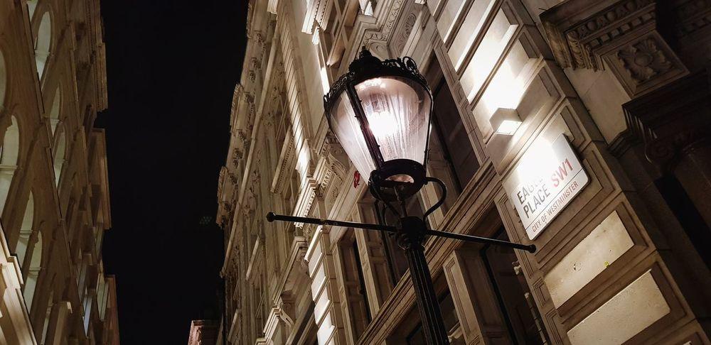 Streets Lights Yellow Landpost Hanging No People Night Postcode Postcards