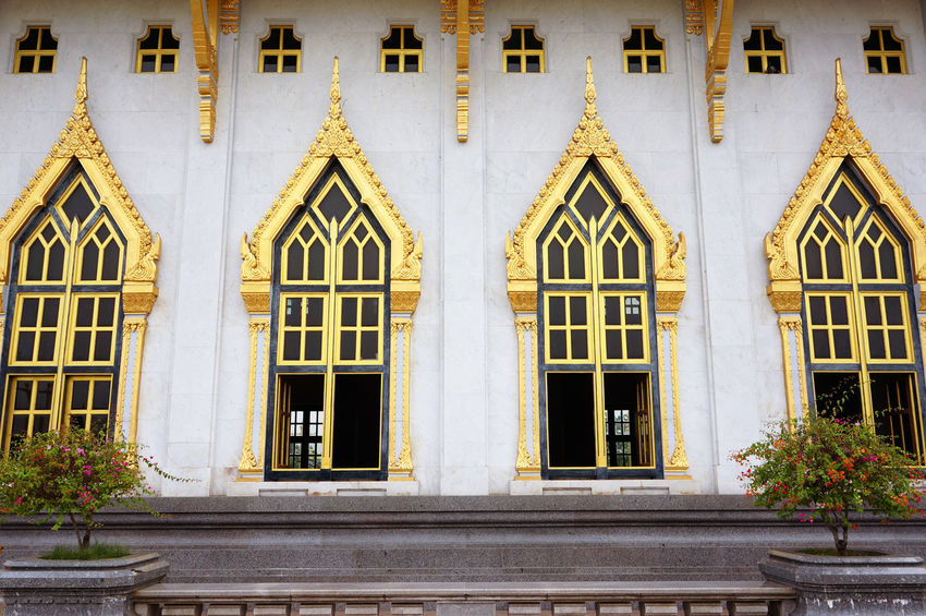 Wat Sothorn Woravihan beautiful Thai temple Pattern White Background Beautiful Lifestyles Light Art Abstract Object Color Shadow Window Façade Architecture Building Exterior Day Outdoors No People