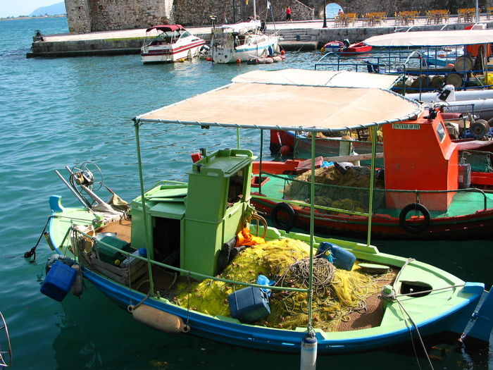 fisher Architecture Built Structure City Day Fisher Boat Harbor Mode Of Transport Moored Nautical Vessel Nefpaktos, Greec No People Outdoors Sea Transportation Travel Destinations Water