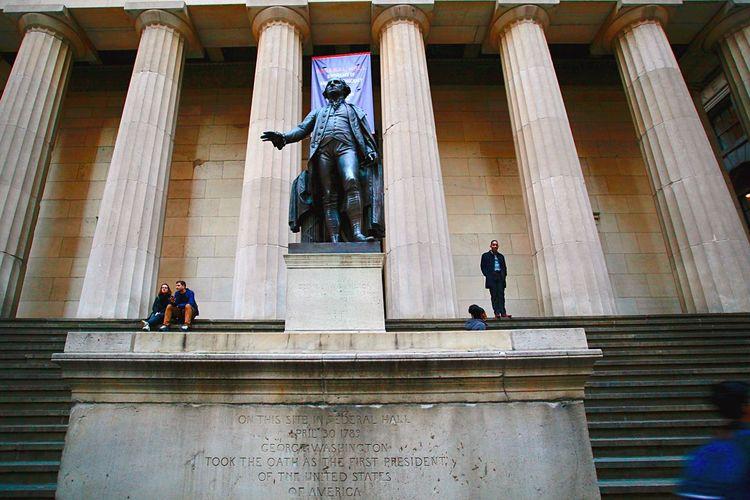George washington statue Wallstreeet Architecture Built Structure Sculpture Statue