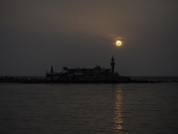 Bombay Calm Hajiali Illuminated Incredible India India Mumbai Ocean Reflection Sun Sunset Tranquility Waterfront