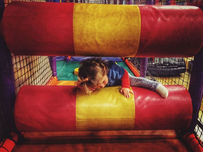 Girl climbing on playground