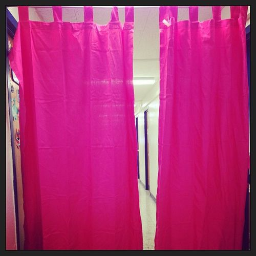 Newest addition to our dorm hall. Pinkcurtains