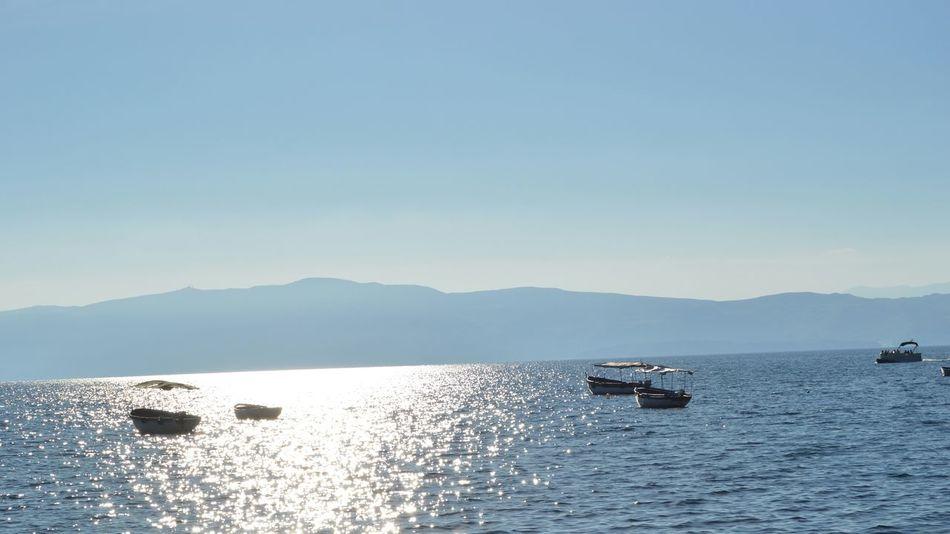 Macedonia Ohridlake Sun Lake Boat Landscape Nature Traveling