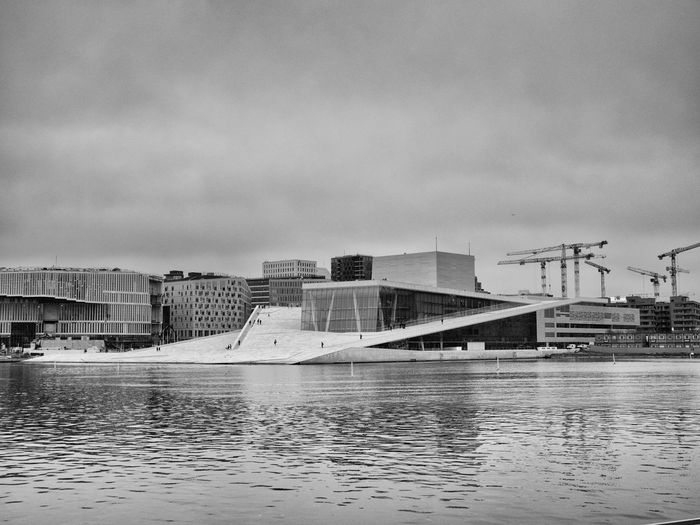 The Opera in Oslo, Norway as seen from three different angles from the harbourside between Vippetangen and the Central station Operahouse Opéra Opera House Oslo Opera House Oslo, Norway Oslo Oslostreets White Oper Architecture Architectural Detail Water Built Structure Sky City Cloud - Sky Waterfront Reflection Day Building Exterior Reflections In The Water White Background Blackandwhite Black & White b&w street photography Oslo Opera