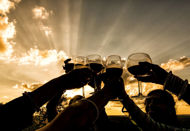 Cheers Celebration Cheerful Cheers Cloud - Sky Friendship Human Arm Human Body Part Human Hand Limb Low Angle View Outdoors People Sky Wedding Wedding Photography