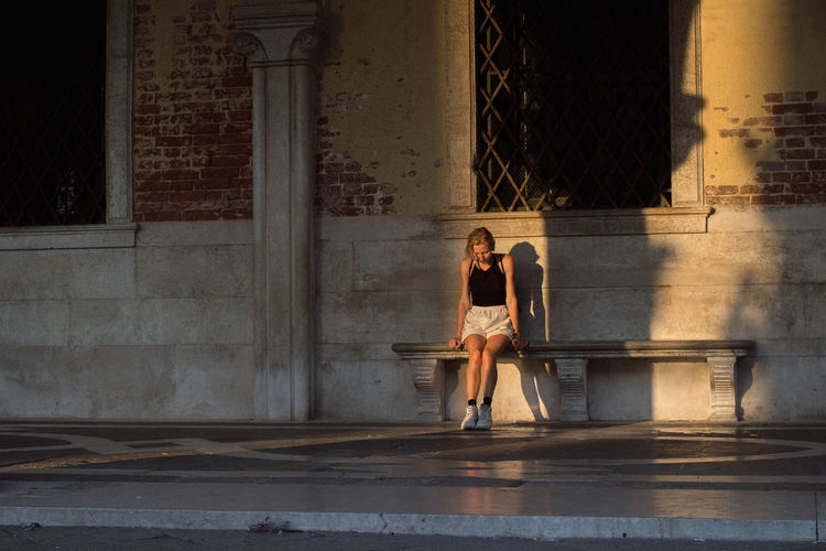 Bench Light Reflection Shadows & Lights Sitting Sitting Pretty Sunlight Architecture darkness and light Italy Light And Shadow Outdoors Shadow Sitting Alone Sitting On A Bench Sunset Venice Women Young Women