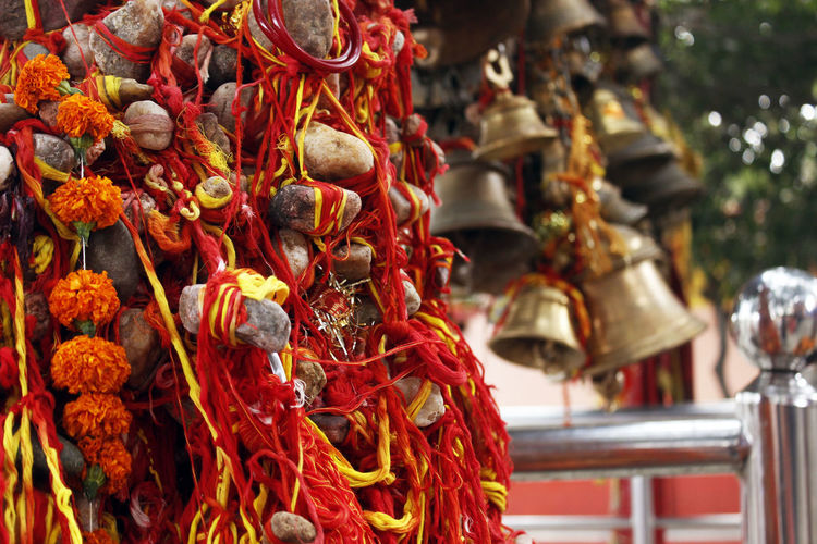 Close-up of religious offering hanging at temple