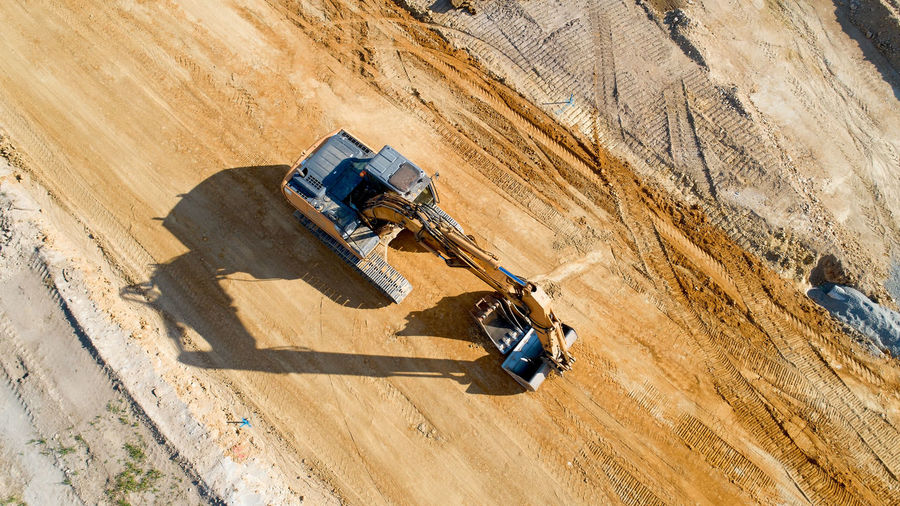 High Angle View Of Earth Mover At Construction Site