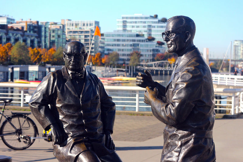 Statues of two men in Vancouver near Science World. B.C. Canada Statues Outdoors Vancouver BC Vancouver Canada B.C