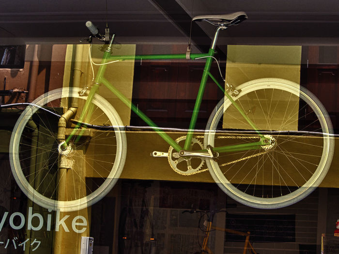 Architecture Bicycle Bicycle Shop Close-up Day Indoors  Land Vehicle No People Reflections From Window Display Transportation Wheel