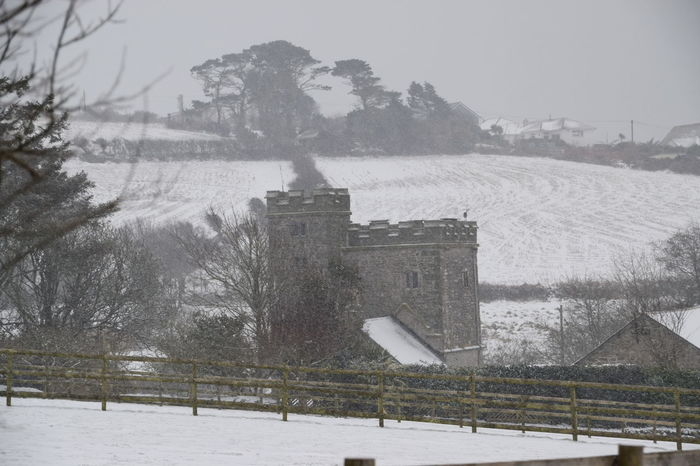 Castle Architecture Beauty In Nature Building Exterior Built Structure Cold Temperature Cornwall Uk Day Frozen Nature No People Outdoors Sky Snow Snow Photography Snowdrift Snowfall Snowing Tree Weather Winter