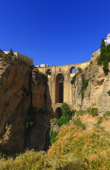 The old Bridge in Ronda Ancient Andalucía Architecture Blue City Clear Sky Day History Medieval Monument Nature No People Old Outdoors Rock Formation Ronda Ronda Bridge Sky SPAIN Tourism Travel Travel Destinations