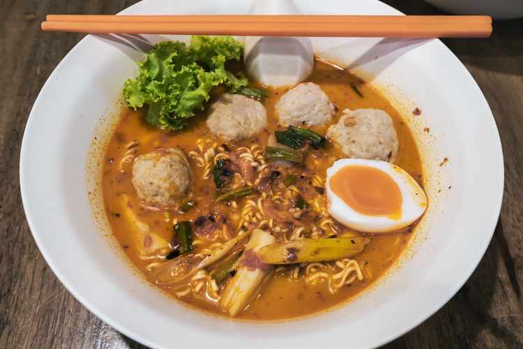 Egg Yolk Food And Drink Thai Noodle Style Thai Noodles Chopsticks Close-up Pork Balls Spicy Noodles Spicy Soup Top View