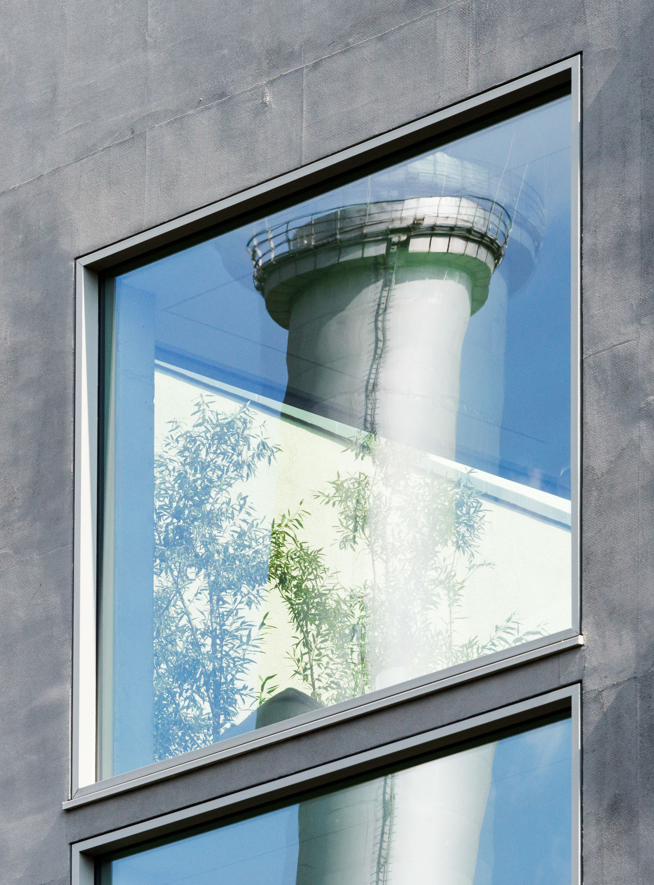 Reflection of chimney on window