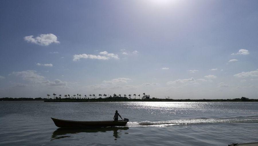 Water Nautical Vessel Oar Fisherman Silhouette Sunlight Blue Beach Sky Cloud - Sky