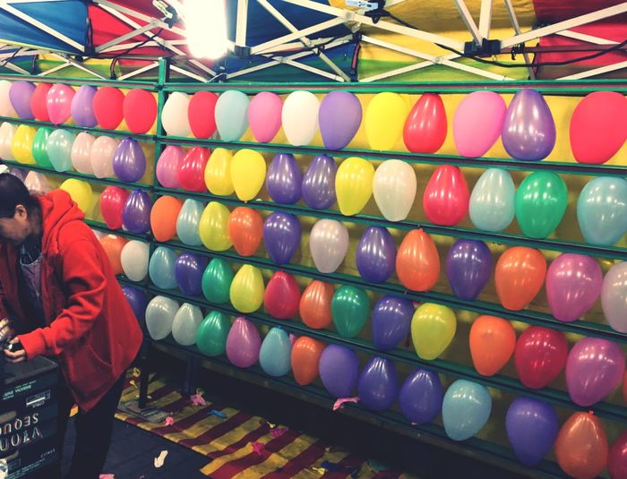 Balloons at the Night Market Colorful Game Eyeem South Korea Night Life Night Event Shooting Shooting Balloons Tent