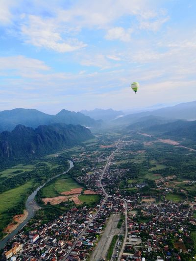 up above the sky..ballon !! City Flying Ballooning Festival Mountain Cityscape Aerial View Mid-air High Angle View Sky Valley Rice Paddy