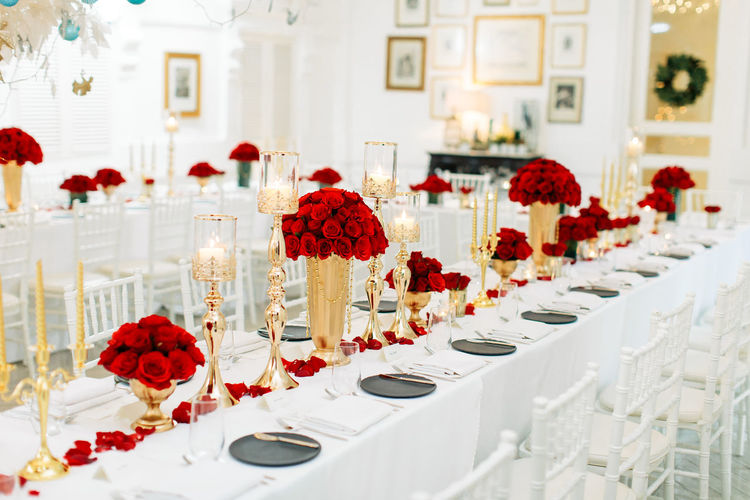 Red flowers on table