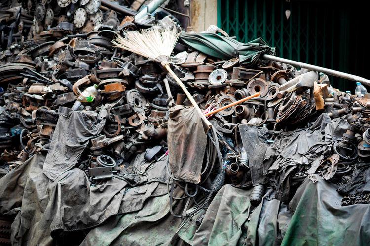 Stack of garbage on metal
