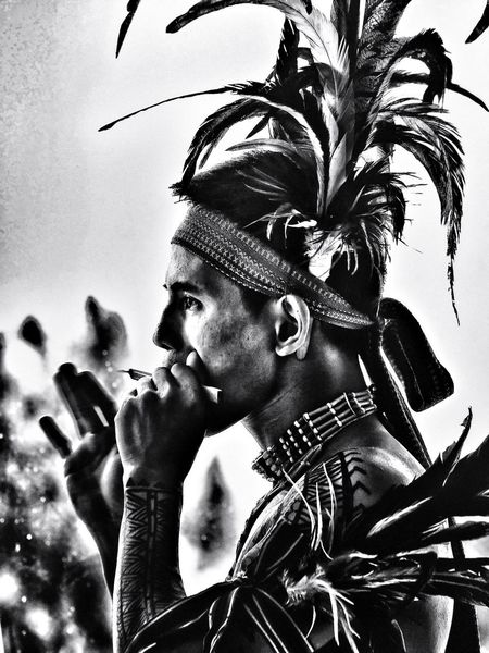 One Person Headshot Lifestyles Headdress Adult Cultures Music Young Adult Igorot Philippines Paint Picture Captured By Iphone Iphone6splus