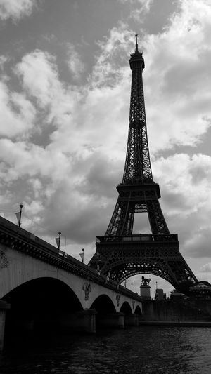 France Love Paris Poster TourEiffeil Architecture B&w Photography Blackandwhite Bridge Built Structure Cloud - Sky Engineering No People River Senna Tourism Tower Water Been There. The Week On EyeEm EyeEmNewHere