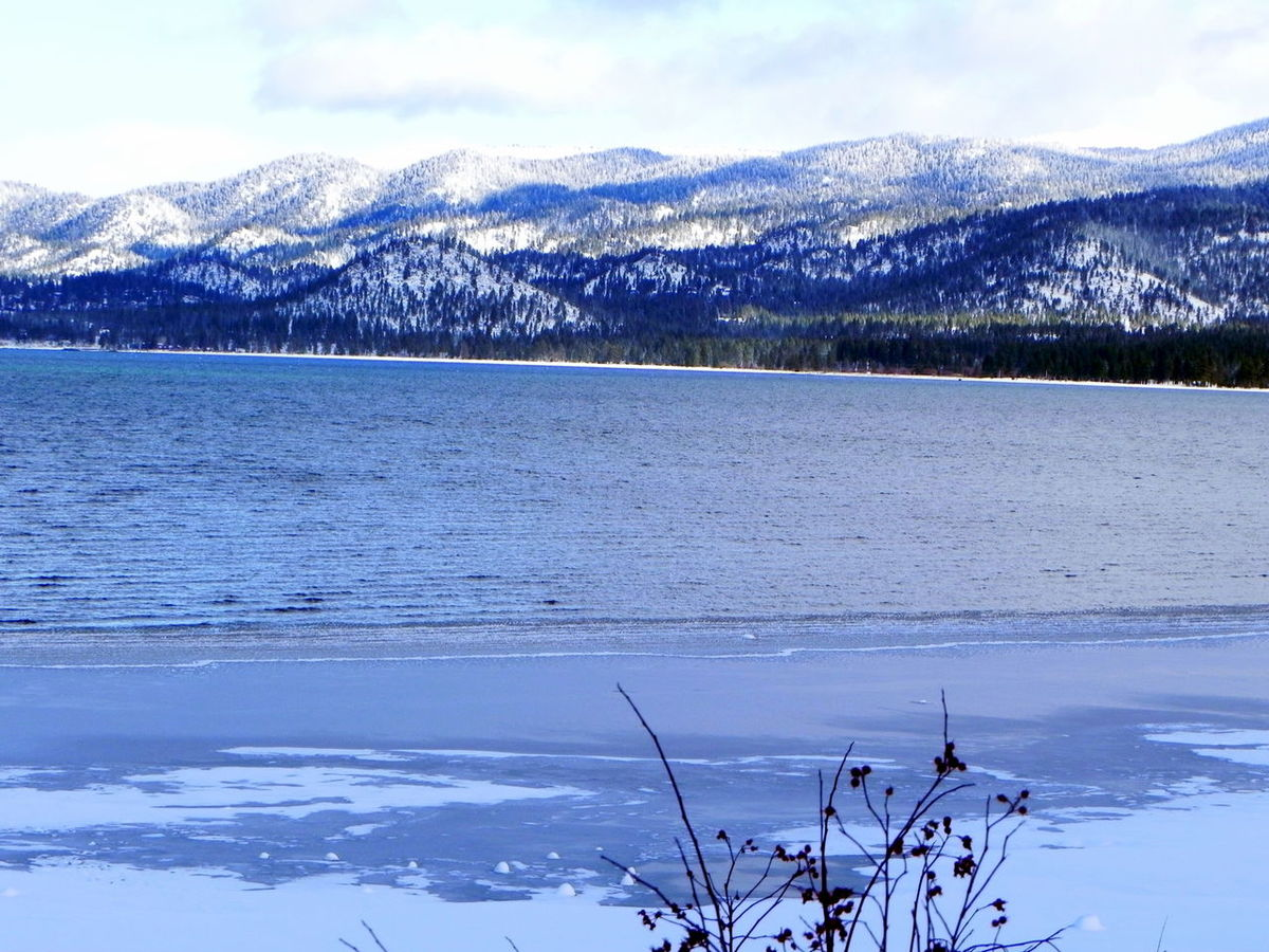 Beauty In Nature Cloud - Sky Cold Temperature Day Frozen Lake Lake View Landscape_photography Mountain Nature No People Outdoors Scenics Sky Snow Tranquil Scene Tree Water Winter