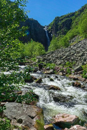 Njupeskär from the bottom Njupeskär Fulufjället National Park Scandinavia Waterfall Hiking Trail Sweden Waterfalls Outdoor Life Hiking Plant Tree Nature Green Color Beauty In Nature No People Growth Scenics - Nature Non-urban Scene Outdoors Mountain Flowing Water Idyllic