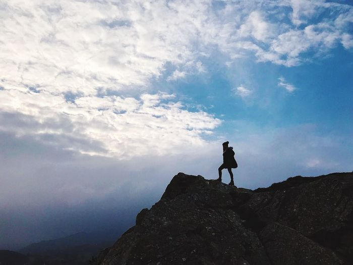 Mountain top Standing Nature Adventure Tranquility Mountain Rock Silhouette Real People Hiking Outdoors Tranquil Scene Scenics - Nature First Eyeem Photo Moments Of Happiness