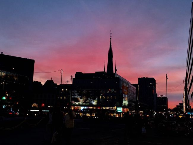 Stockholm Winter Pink Sky Outdoors No People Buildings Architecture Lights Blue Sweden Godaminnen